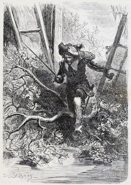 Dore, Gustave: Entered the Fray (Illustration from Le Capitaine Fracasse) Fine Art Print/Poster. Sizes: A4/A3/A2/A1 (3974)
